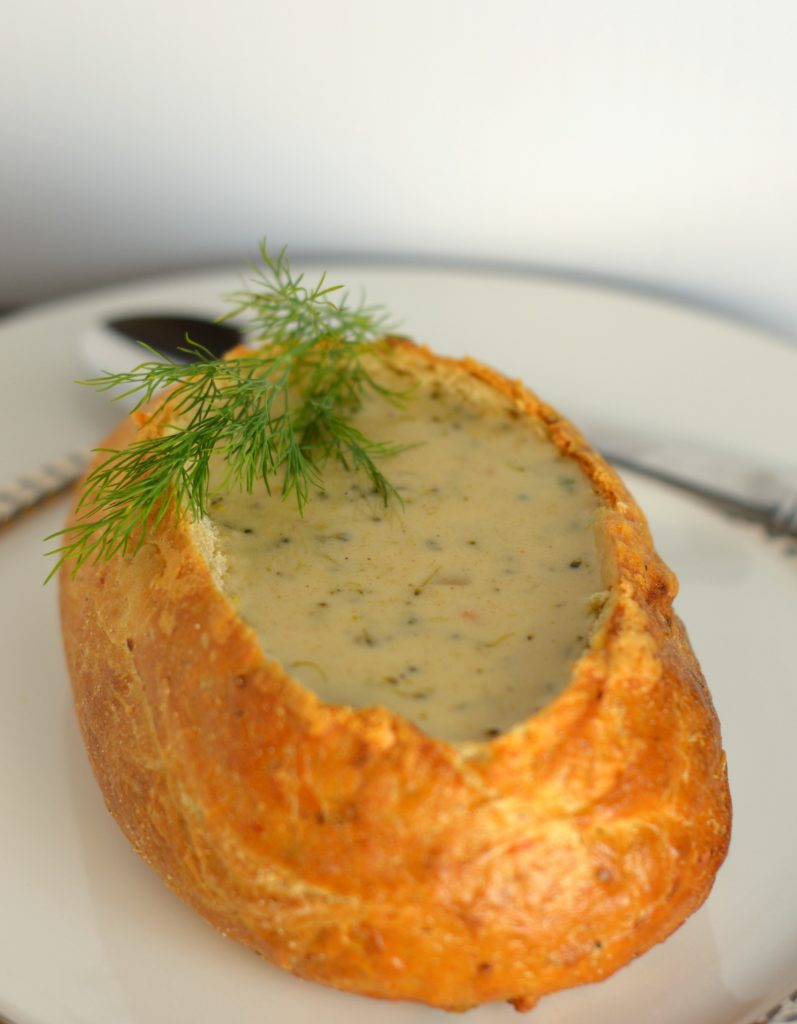 Instant Pot Broccoli and Cheese Soup Bread Bowls