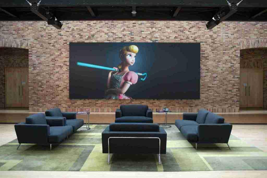 Toy Story 4 images in the atrium pixar studio campus