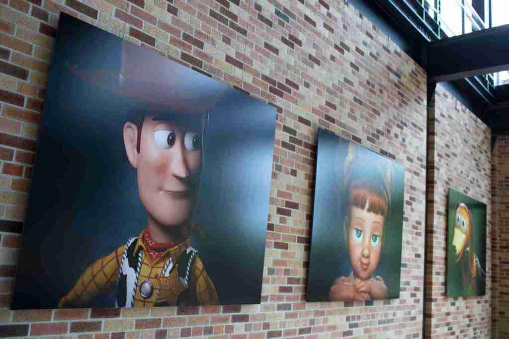 Toy Story 4 images in the atrium pixar studio