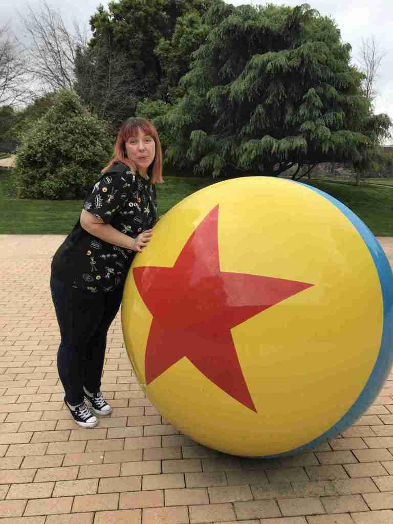 pixar ball on the studio campus